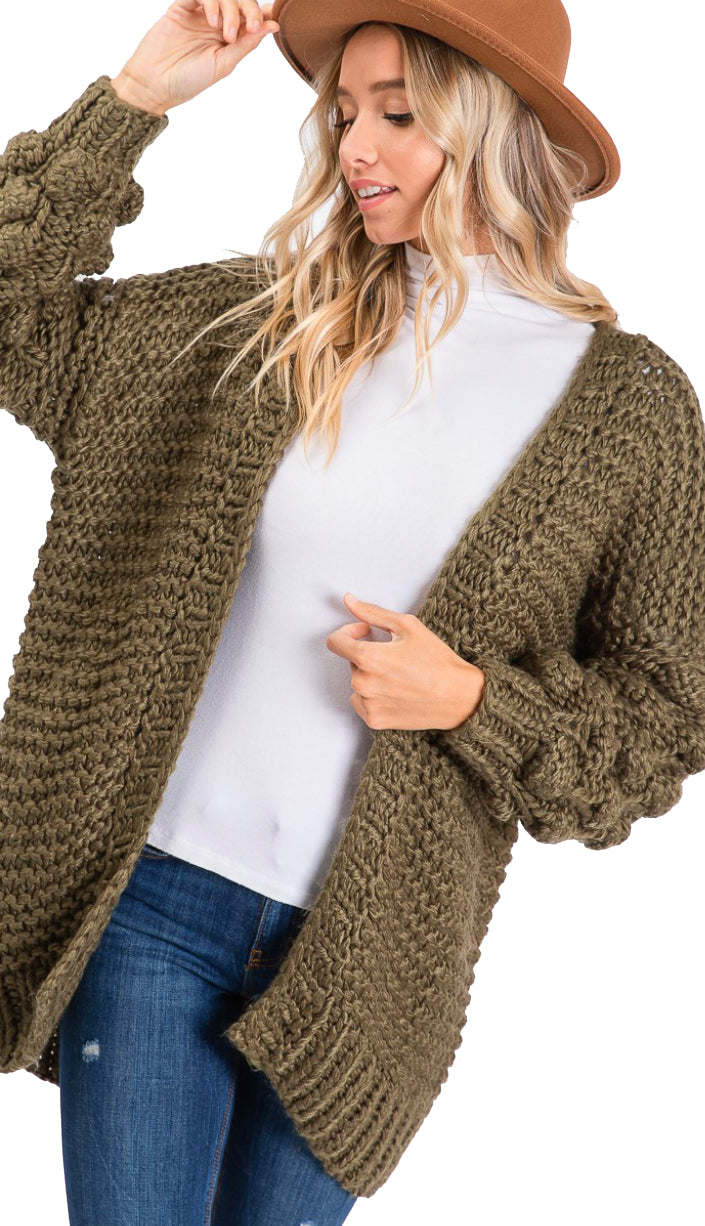 Crisp Air Popcorn Bubble Sleeve Cardigan- Olive