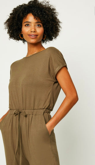 Comfort Is Key Jumpsuit- Olive