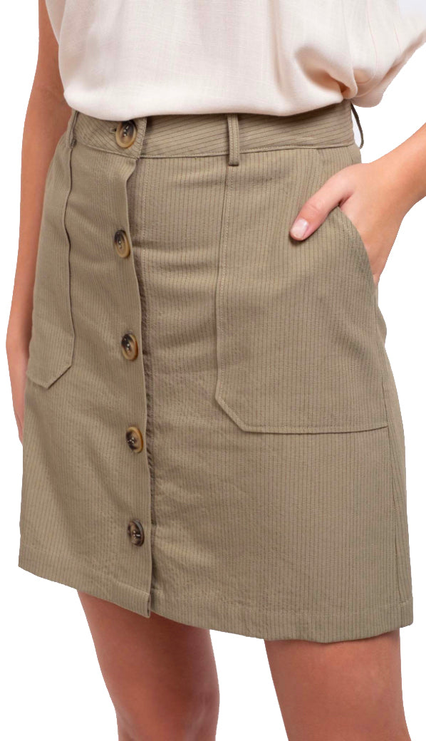 Woven Pinstriped Skirt- Light Olive