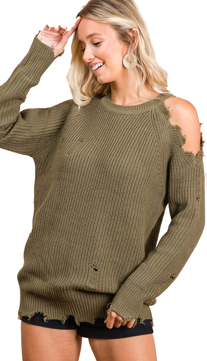 Out Of Sorts Cold Shoulder Sweater- Olive