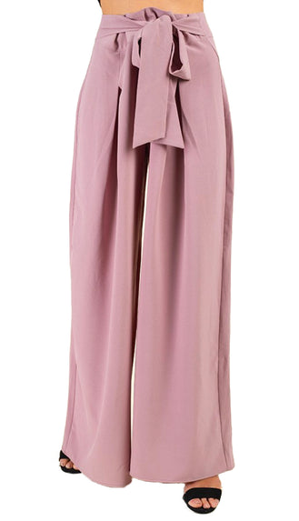 Self Tie Pleated Palazzo Pants- Pink