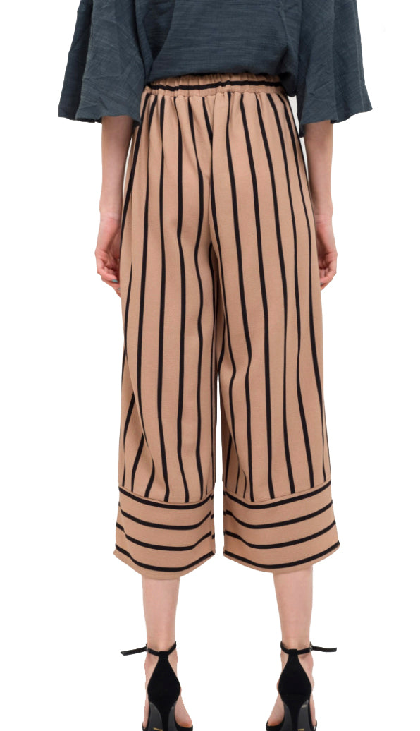Stripe Culotte Pants- Mocha/Black