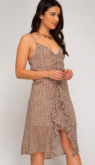 Amelia Rouched Dress- Taupe