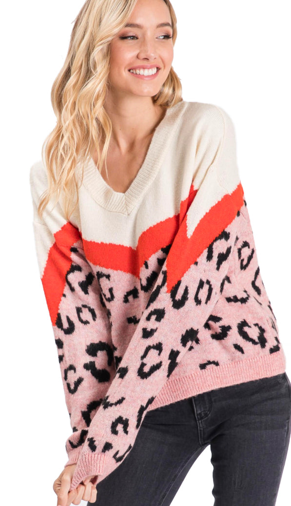 Sweet And Sassy Leopard Colorblock Sweater- Pink