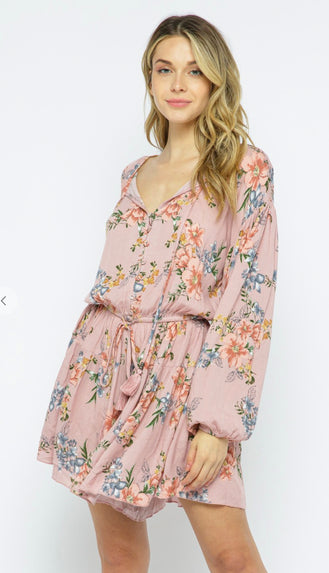 Wanderlust Bubble Sleeve Romper- Rose