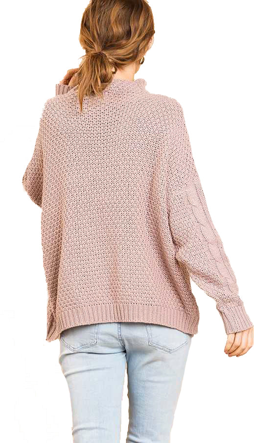 Blushing For You Mock Neck Sweater- Lt. Mauve