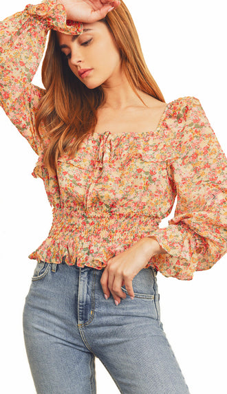 Spring Florals Square Neck Top- Pink/Yellow