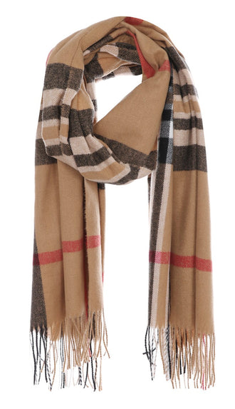 Checker Plaid Winter Scarf- Tan