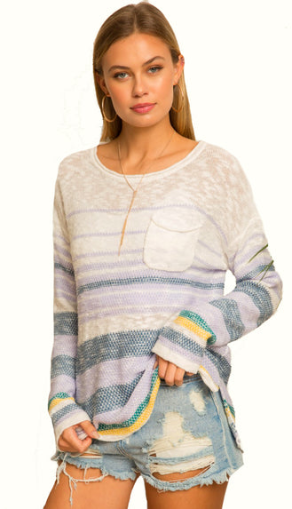 Pretty Kind Pocket Striped Sweater- Lilac Multi