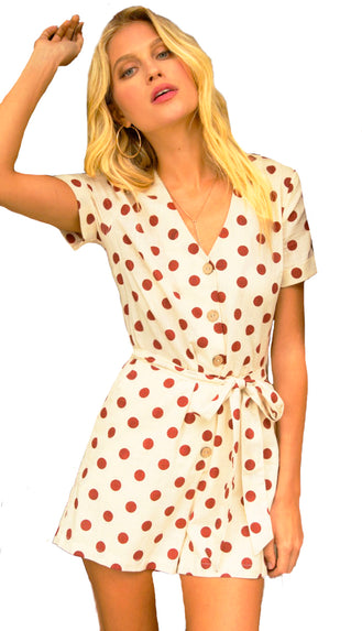 Sun Daze Belted Retro Polka Dot Romper- Natural/Rust