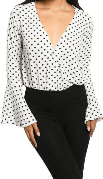 Flared Sleeve Polka Dot Bodysuit- Ivory/Black