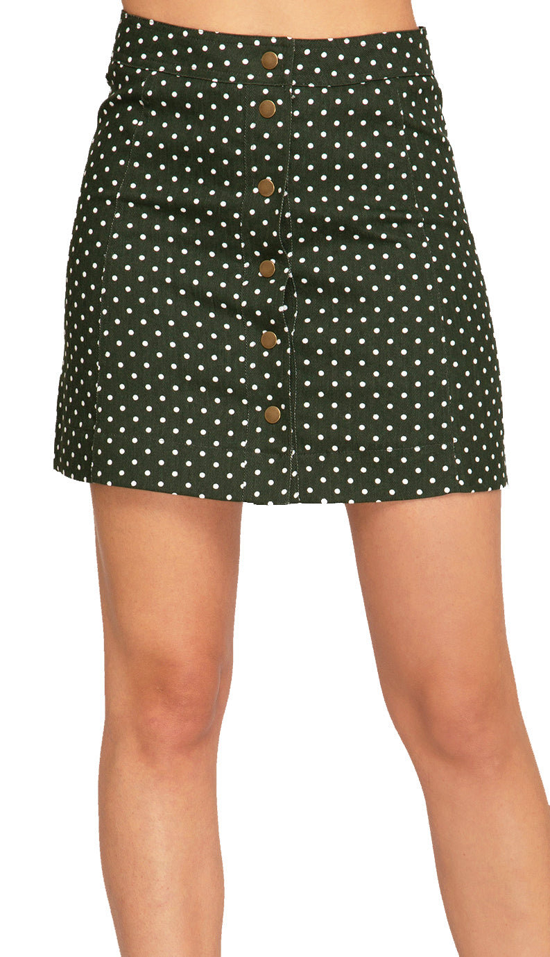 Polka Dot Button Down Skirt- Olive