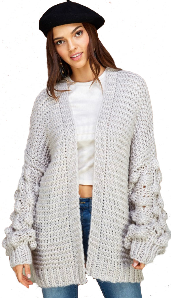 Oversized Pom Sleeve Cardigan- Light Gray