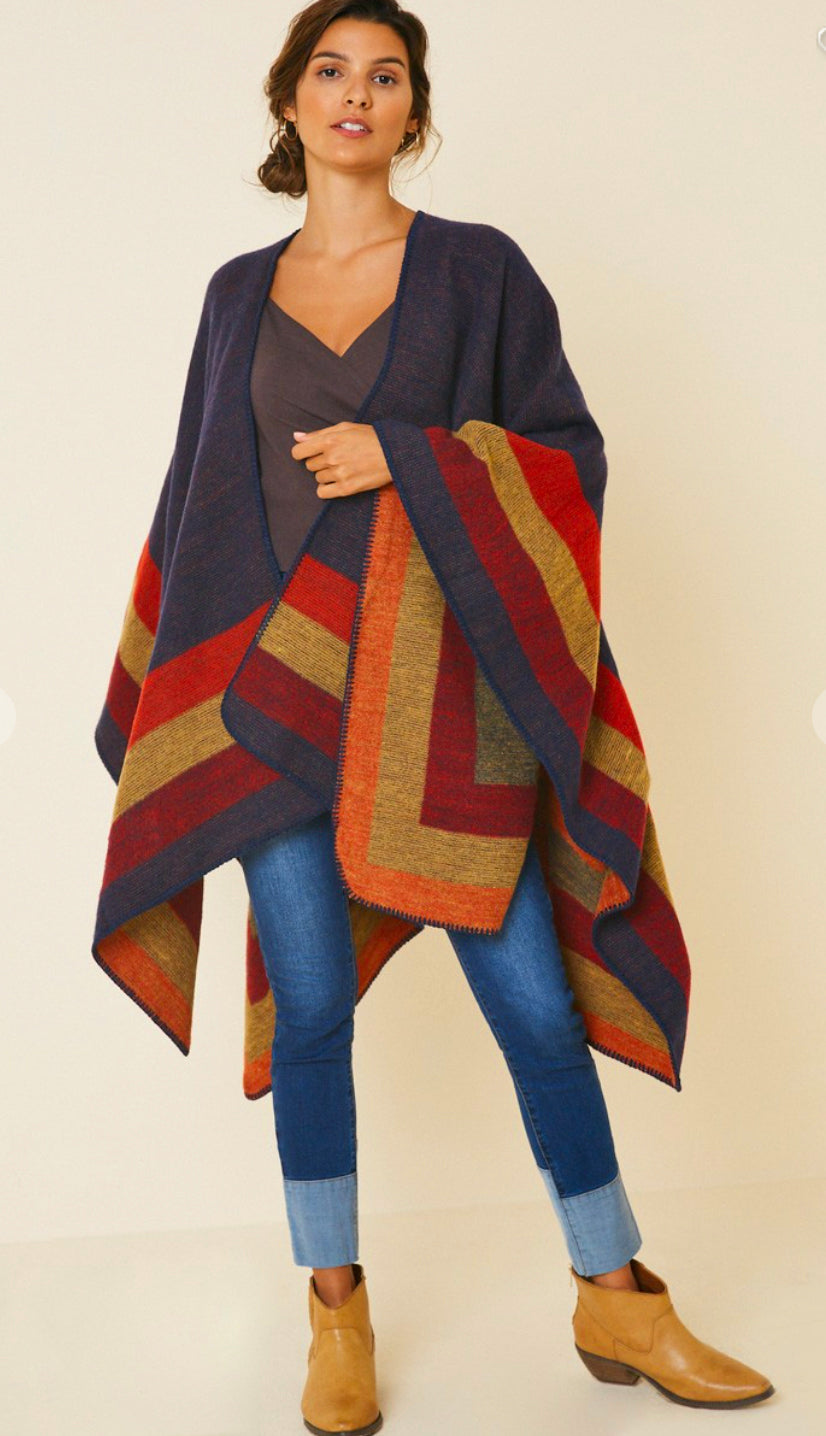 Fall Sunset Poncho- Navy