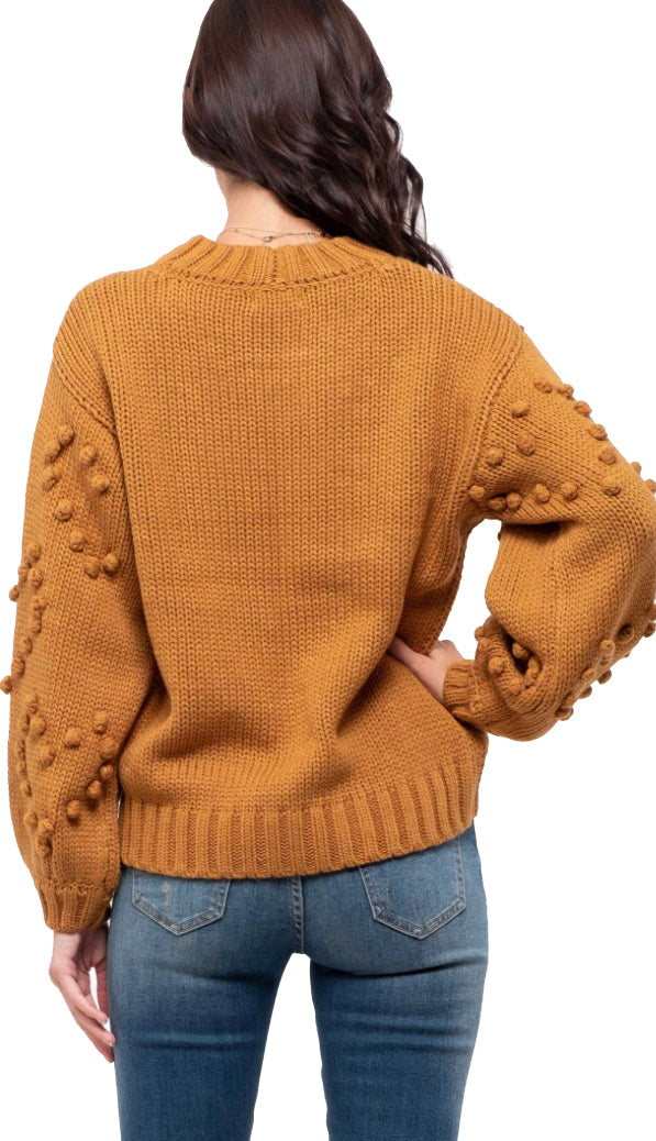 Popcorn Sleeves Sweater- Camel