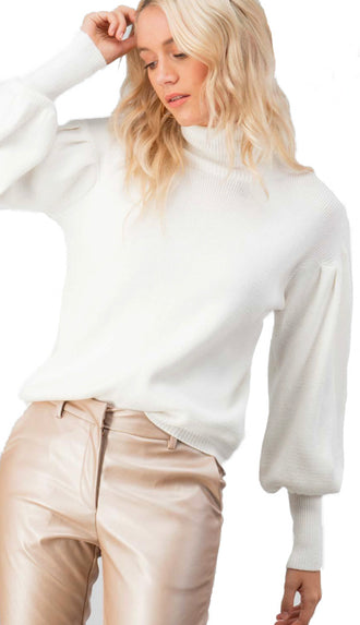 Puff Sleeve Turtleneck- Ivory