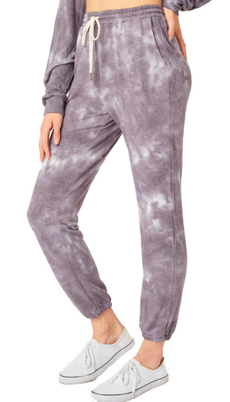 Cozy Kind Of Day Tie Dye Jogger Pants- Slate/Purple