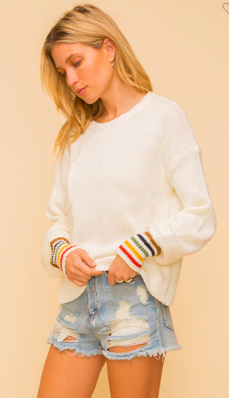 Rainbow Cuff Pocket Sweater- Off White