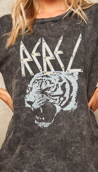 Rebel Tiger Studded Mineral Wash Tee- Charcoal