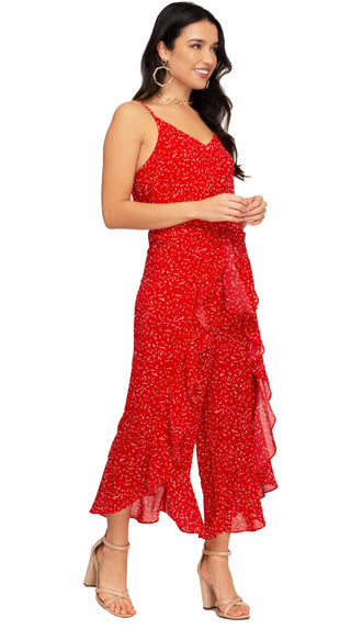 Living Life Front Tie Jumpsuit- Red