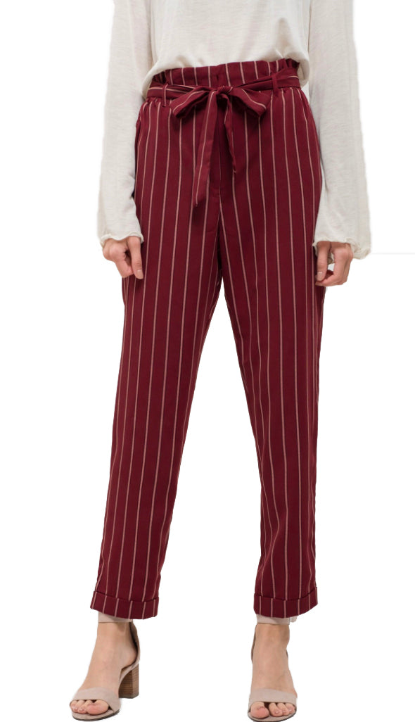 Belted Striped Crop Pants- Burgundy