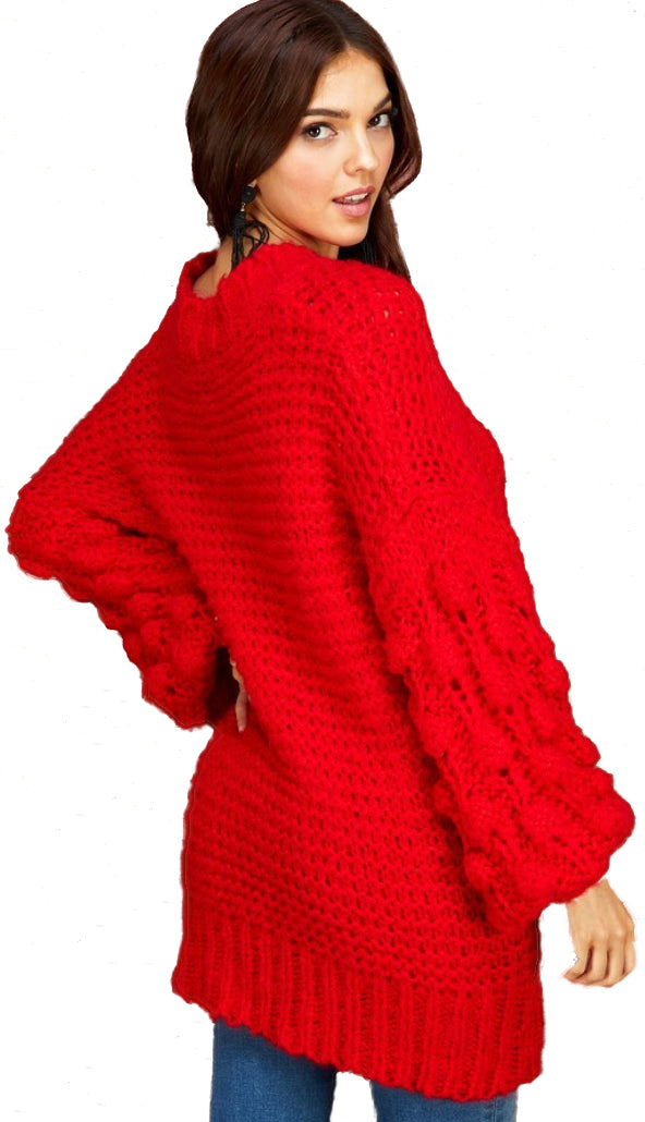 Holiday Red Pom Pom Sweater-Red