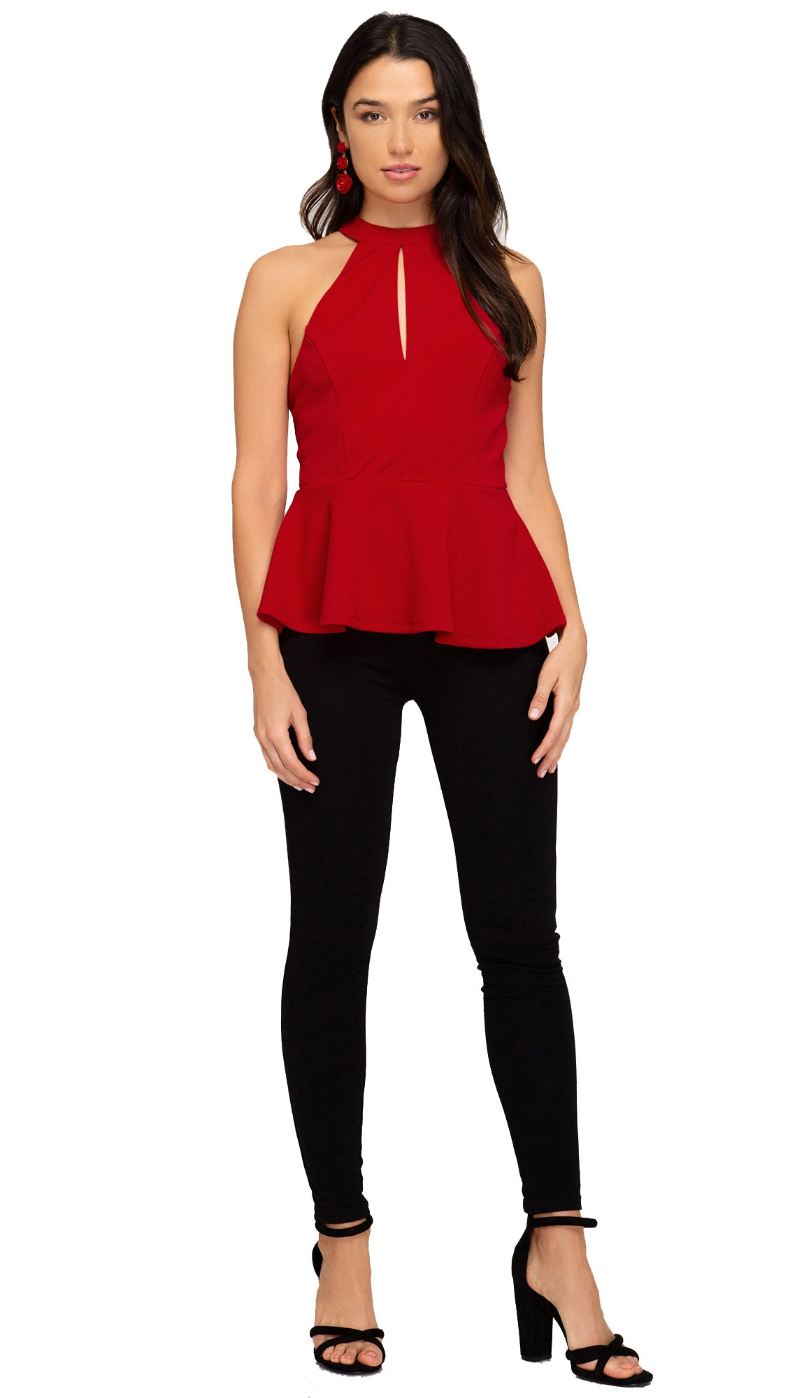 Strappy Back Peplum Top- Red