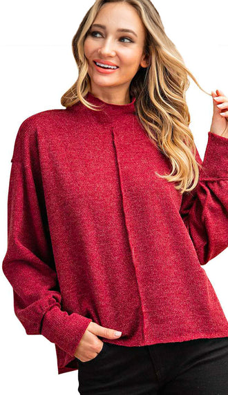 Reverse Stitch Lightweight Sweater Top- Wine