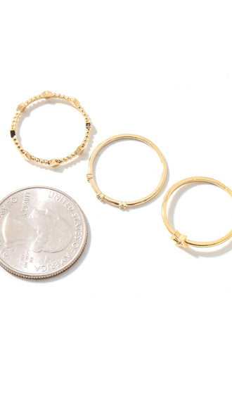 Dainty Metallic Rings Set- Gold