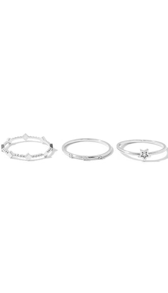 Dainty Metallic Rings Set- Silver