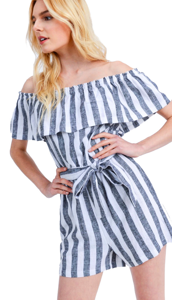 A Little Twisted Belted Romper- Black