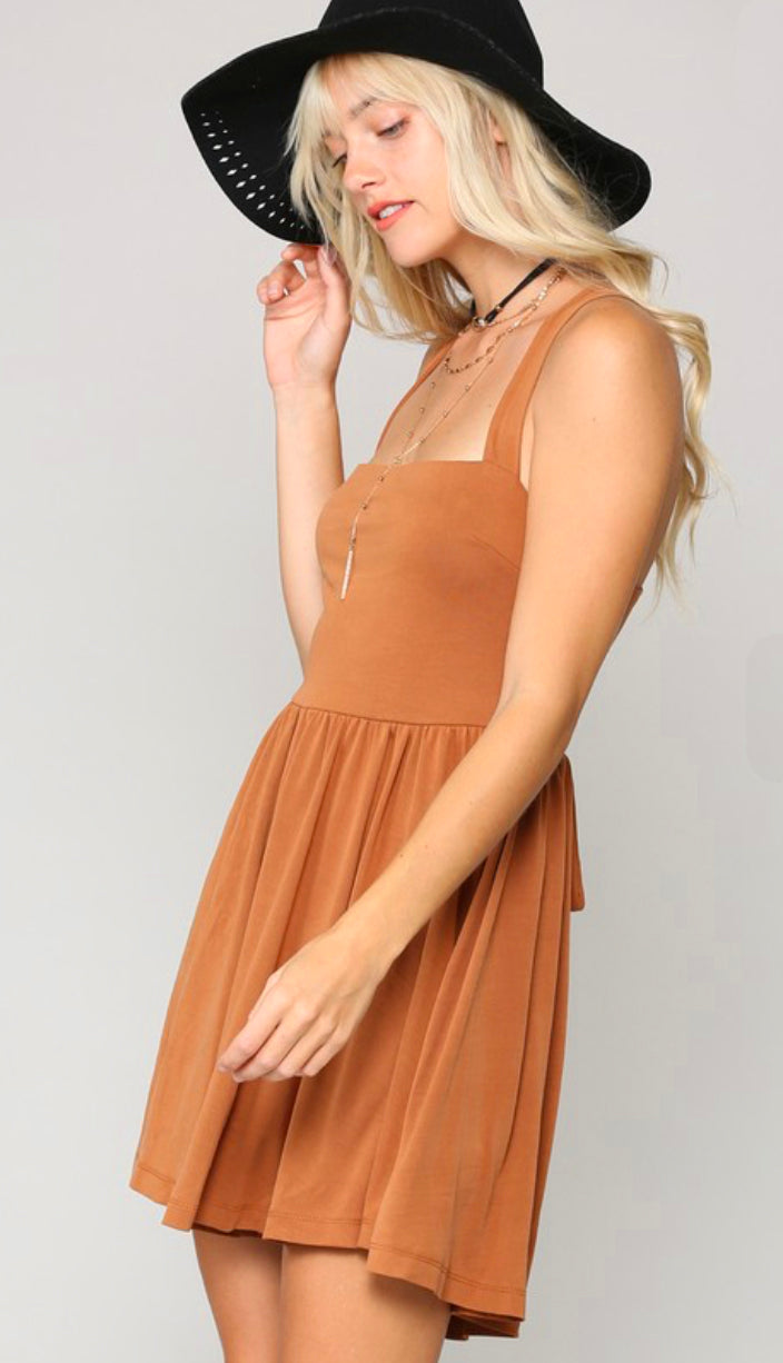 Cupro Soft Stretch Back Lace Up Romper- Copper