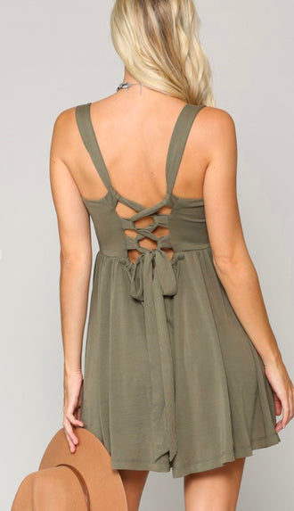Cupro Soft Stretch Back Lace Up Romper- Olive