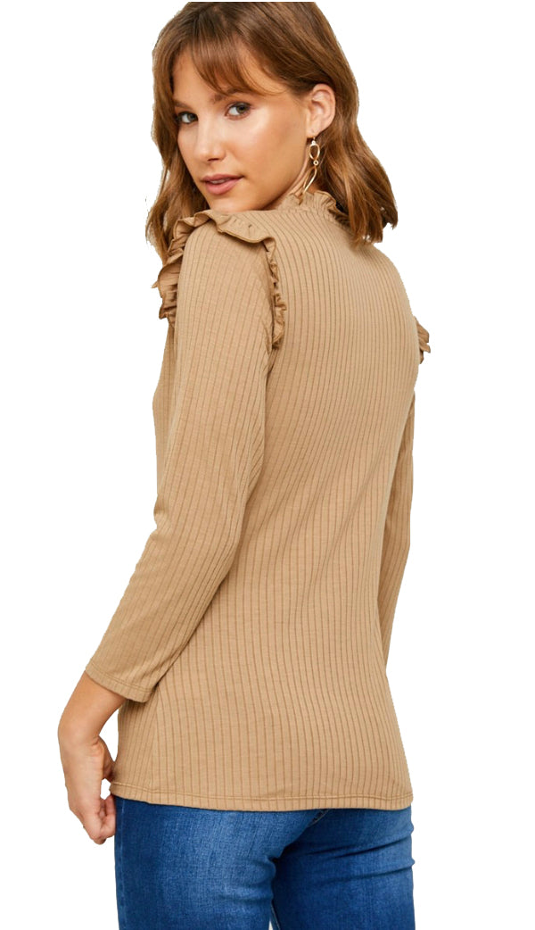Simplest Ruffle Long Sleeve Top- Chestnut