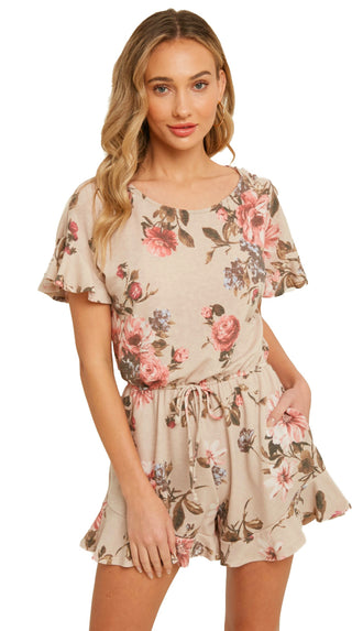 Explore The Town Floral Ruffle Hem Romper- Taupe