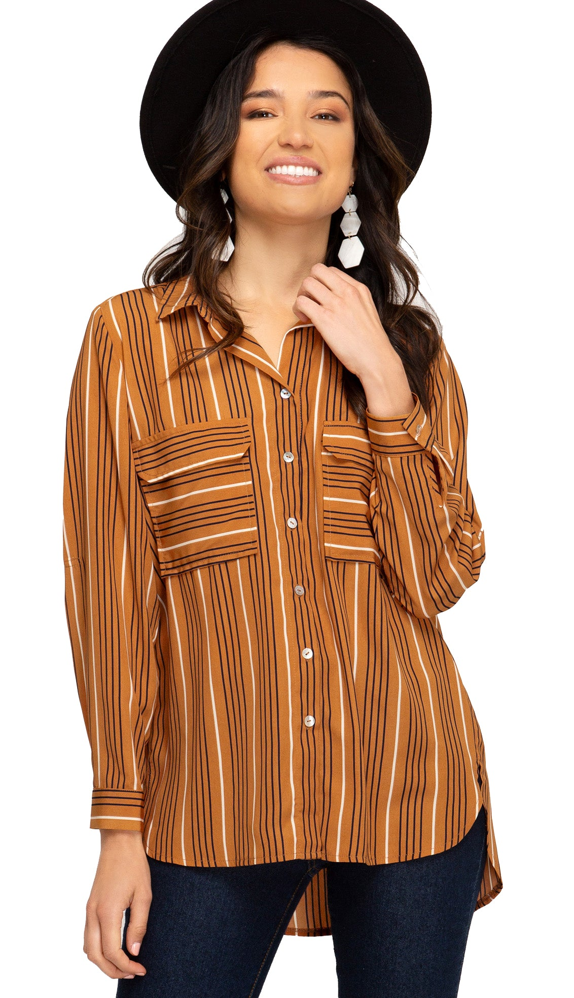 Harvest Day Shirt Blouse- Caramel