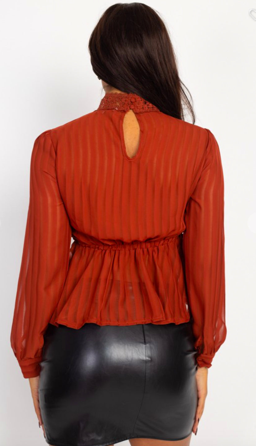Shadow Stripe Embroidered Blouse- Cognac