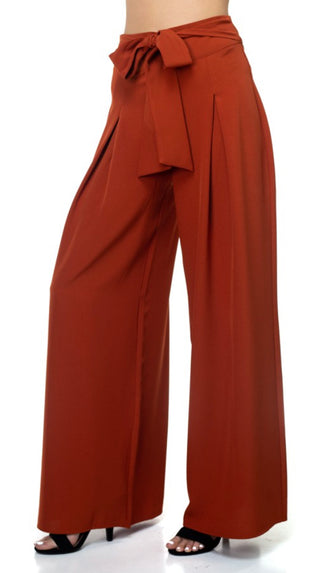 Pleated Palazzo Pants- Rust