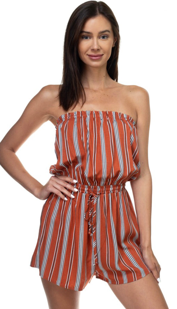 Harvest Stripes Romper- Rust
