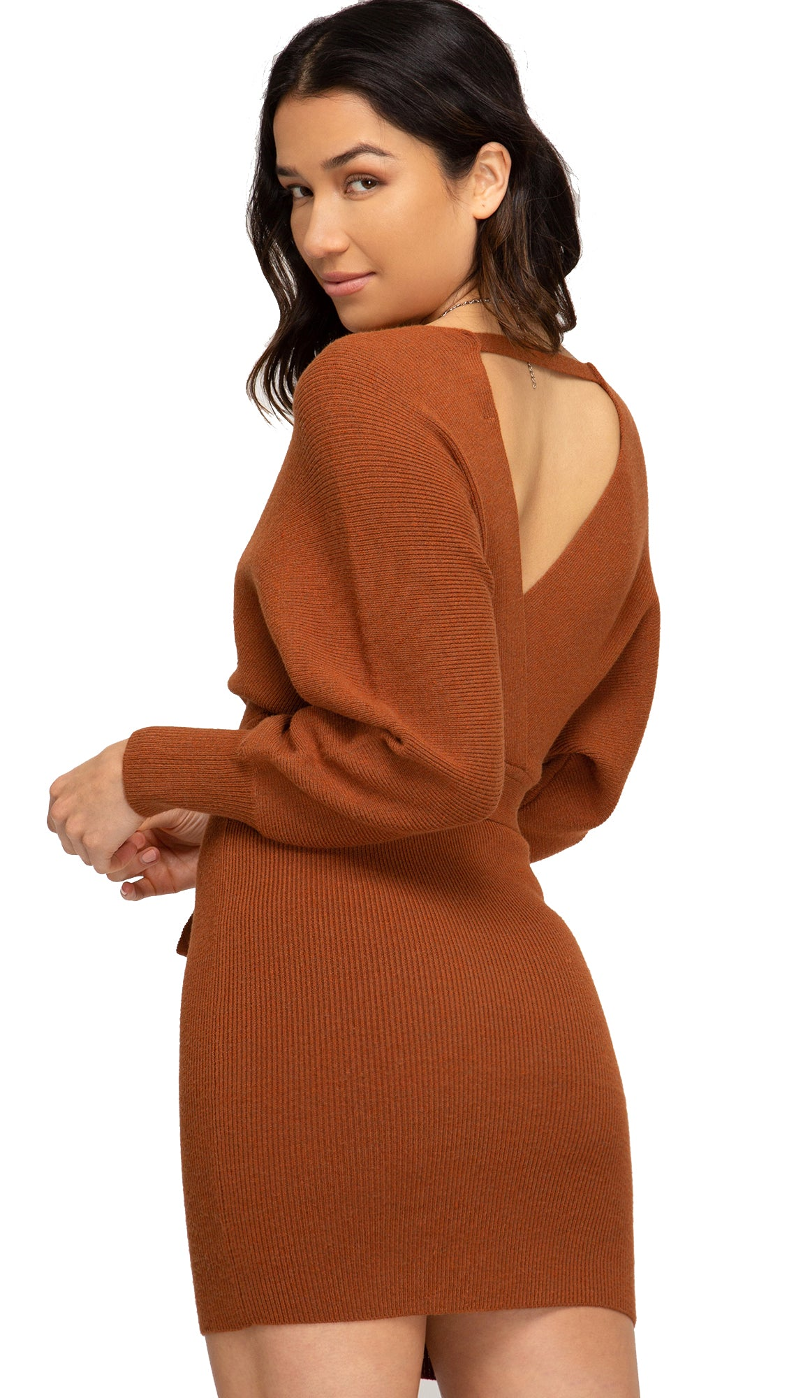 Scalloped Sweater Dress- Caramel