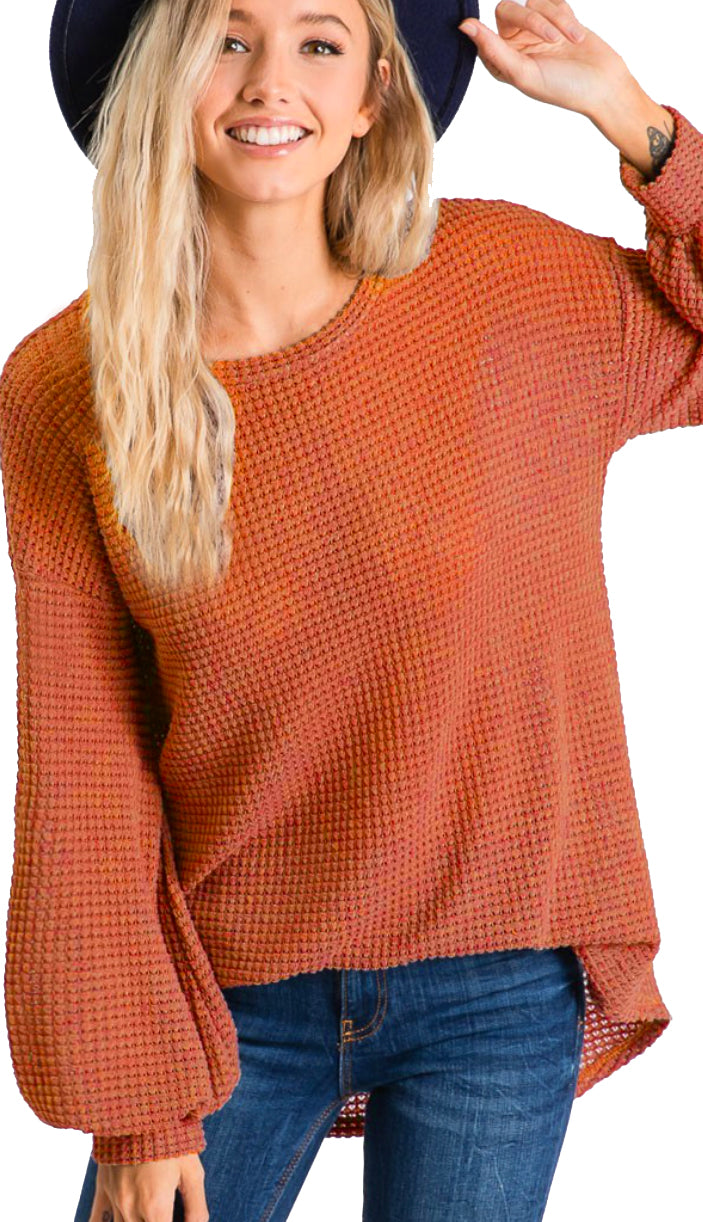 Day By Day Waffle Knit Balloon Sleeve Top- Rust