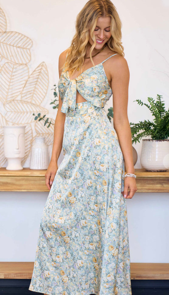 Meet Me There Satin Dress- Dark Hunter Green