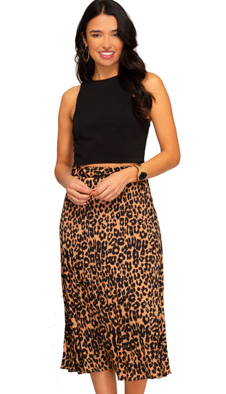 Looking Good Leopard Midi Skirt- Taupe