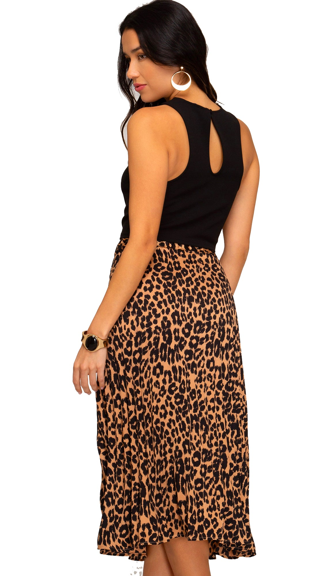 Go To Girl Leopard Midi Skirt- Taupe