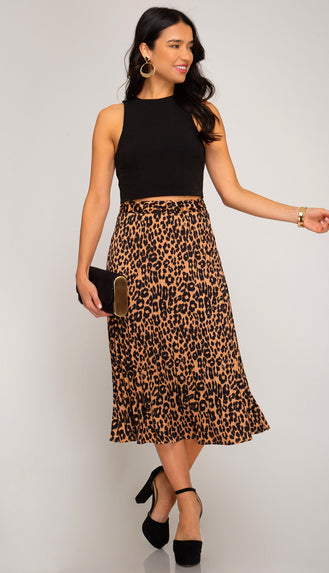 Looking Good Pleated Leopard Satin Midi Skirt- Taupe