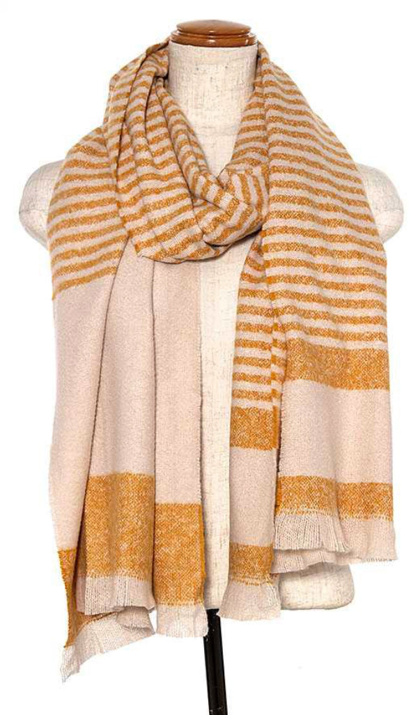 Modern Striped Oblong Scarf- Brown