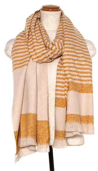 Modern Striped Oblong Scarf- Mustard