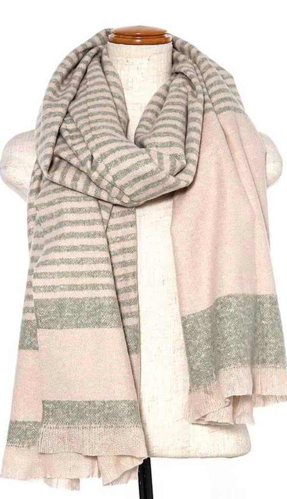 Modern Striped Oblong Scarf- Pink