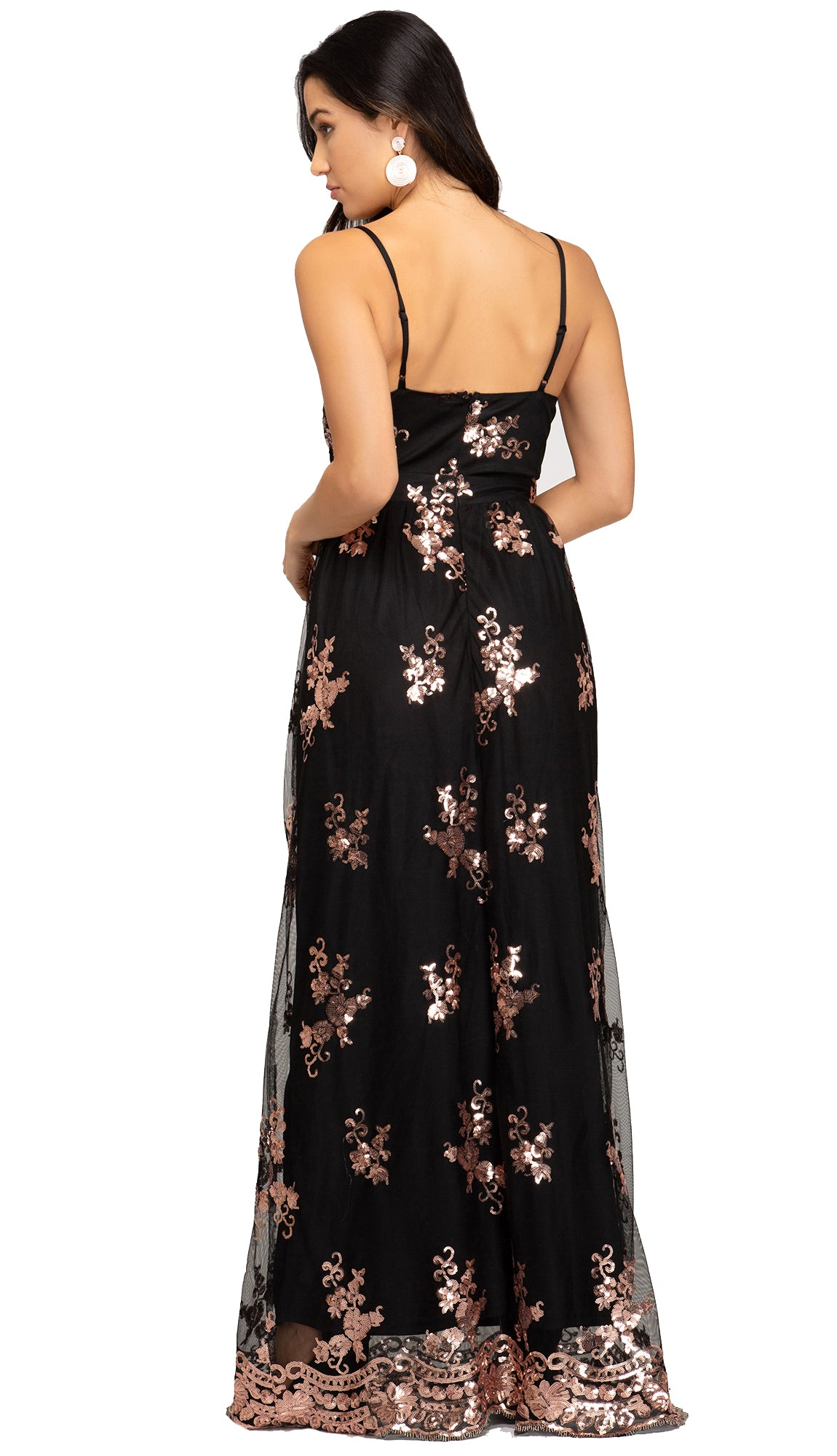 Razzle Dazzle Sequin Maxi Dress- Black