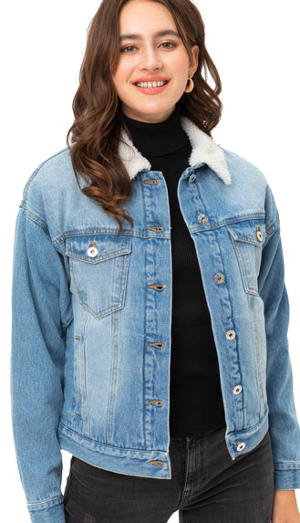 Sherpa Collar Denim Jacket- Light Blue